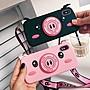 iphone6手機殼支架背帶可愛小豬全包軟殼...
