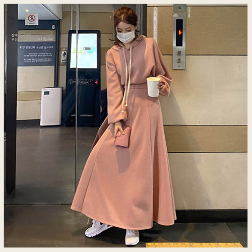 。Styleon。正韓。簡約類針織料連帽短版長袖裙裝。韓國連線。韓國空運。1111。【hk11mayi7632】