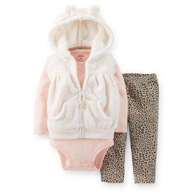 【安琪拉 美國童裝】Carter's 可愛豹紋紋仿羊毛背心3件式 -連帽背心+包屁衣/連身衣+長褲