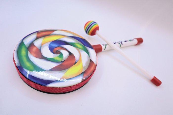 【老羊樂器店】棒棒糖鼓 含鼓棒 Lollipop Drum  6吋 兒童樂器玩具