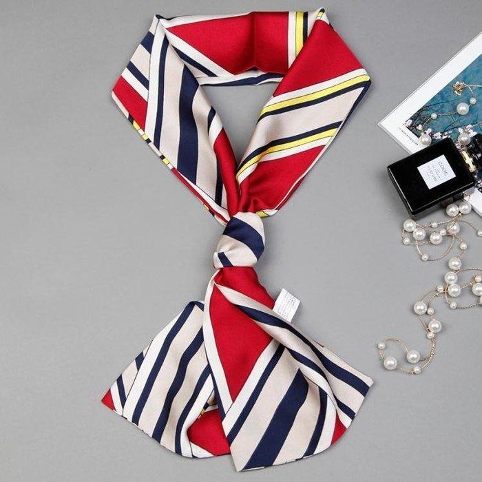 春秋小絲巾女裝飾韓國長條領巾 ins百搭脖子方巾細窄配飾領帶圍巾
