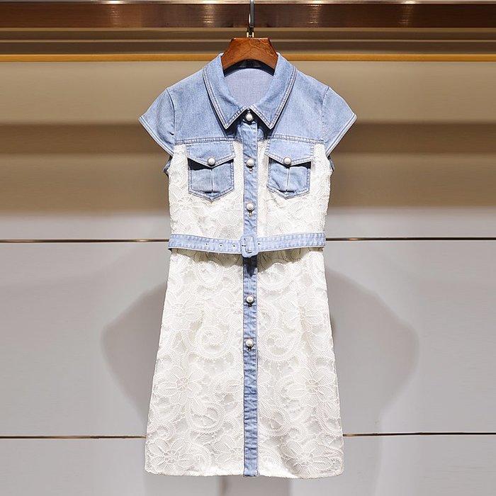 墨染女裝逸艾薇2020夏新款翻領牛仔拼接蕾絲鏤空小心機氣質連身裙子洋裝女顯瘦