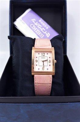 【Jessica潔西卡小舖】漂亮有形seiko精工 LUKIA系列,粉色面方形石英女腕錶