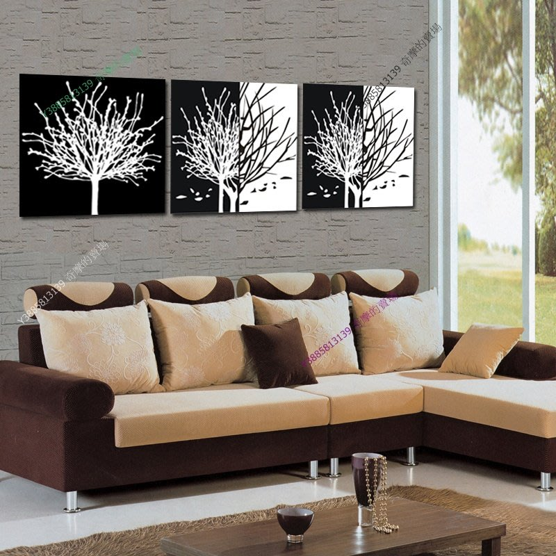 【50*50cm】【厚0.9cm】黑白發財樹-無框畫裝飾畫版畫客廳簡約家居餐廳臥室【280101_135】(1套價格)
