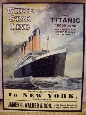歐洲古物時尚雜貨 老古董 RMS Titanic 鐵達尼號 廣告金屬片 古董收藏