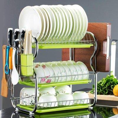 三層廚房置物架兩層瀝水碗碟架放碗筷瀝水架碗架收納架子碗盤用品 下單送襪子或聖誕帽唷