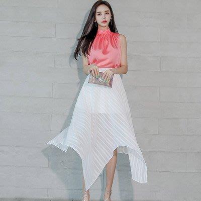 &韓女王&7018#新款兩件套2020夏裝韓版修身氣質上衣時尚透視大擺裙套裝女