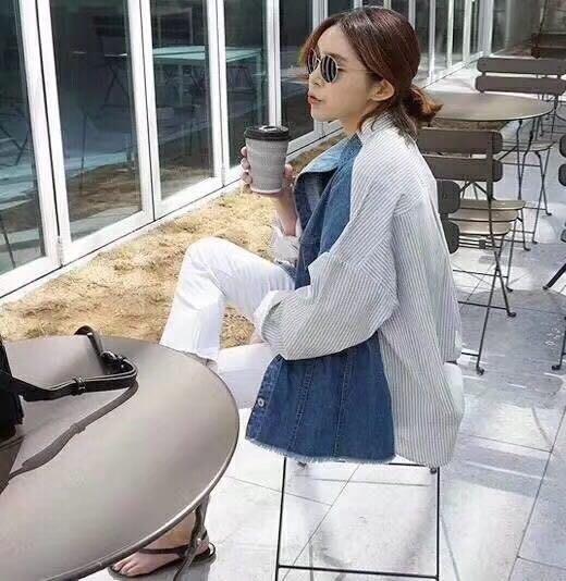 EVA精緻坊【韓國衣飾】【牛仔拼接襯衫外套上衣】現貨