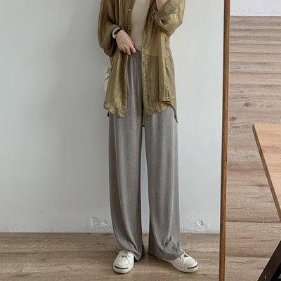 韓國很垂很瘦的珠光冰絲拖地直筒褲顯高闊腿褲