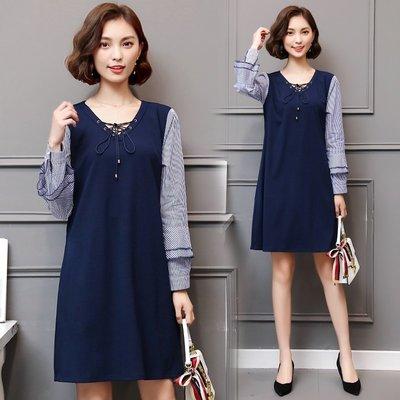 GOGO SHOP☆╭韓版新款 時尚百搭條紋袖拼接長袖連身裙 V領顯瘦洋裝【Y1630】XL~5XL大尺碼洋裝 裙子