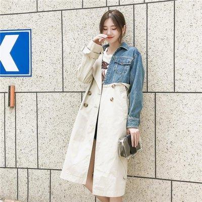 寬鬆拼接牛仔風衣女中長款韓版秋季外套學生