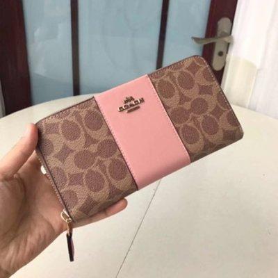 Melia 米莉亞代購 COACH 2019ss 11月新品更新 31546 皮夾 長夾 拉鍊款 拚色 PV配皮 粉色