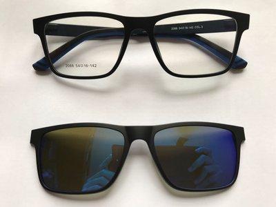 藍水銀偏光鏡clip on連磨砂黑色方形眼鏡(D58)