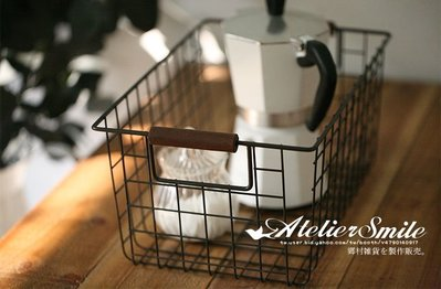 [ Atelier Smile ] 鄉村雜貨 日本直送 復古木柄 鐵製 收納籃 水果籃 雜物籃 #  三件套 (免運)