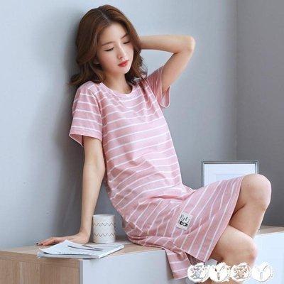睡裙 夏天短袖純棉睡裙女夏季寬鬆中長連身裙家居服全棉睡衣條紋加大碼