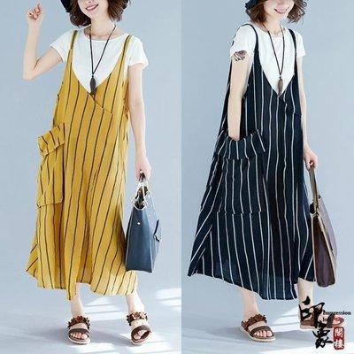 哆啦本鋪 大尺碼女沙灘背帶長裙無袖豎條紋吊帶連身裙兩件套 D655