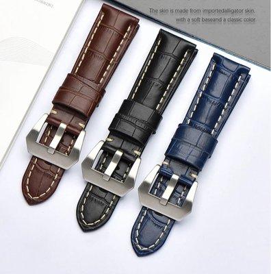 錶帶屋 26mm 深藍 咖啡色 黑色義大利牛皮錶帶寬耳針可替代Garmin Fenix3