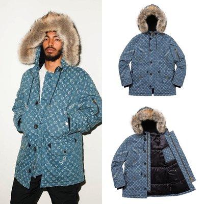 Louis Vuitton X Supreme 狼毛領 丹寧大衣 牛仔外套 LV