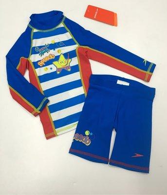 SPEEDO 泳裝 兒童泳衣 兒童長袖防曬衣 游泳衣褲組 UPF 50+ 抗UV 尺寸:2~12 /80cm~140cm