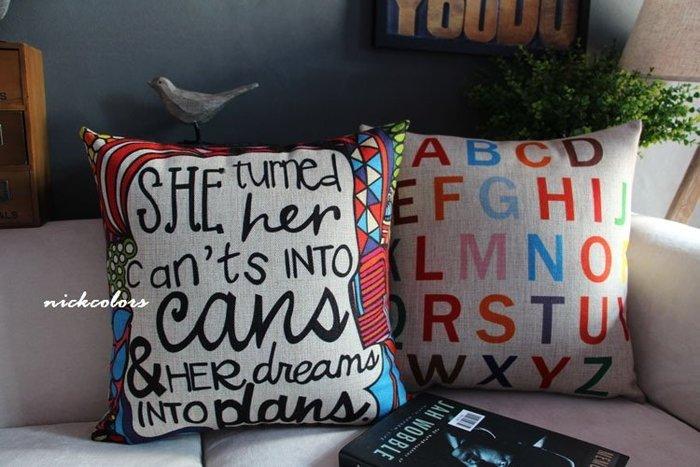 尼克卡樂斯~北歐字母款棉麻抱枕 靠枕 枕墊 靠墊 車用靠枕 輕工業 沙發抱枕 臥室抱枕 客廳抱枕 臥榻靠枕 枕頭