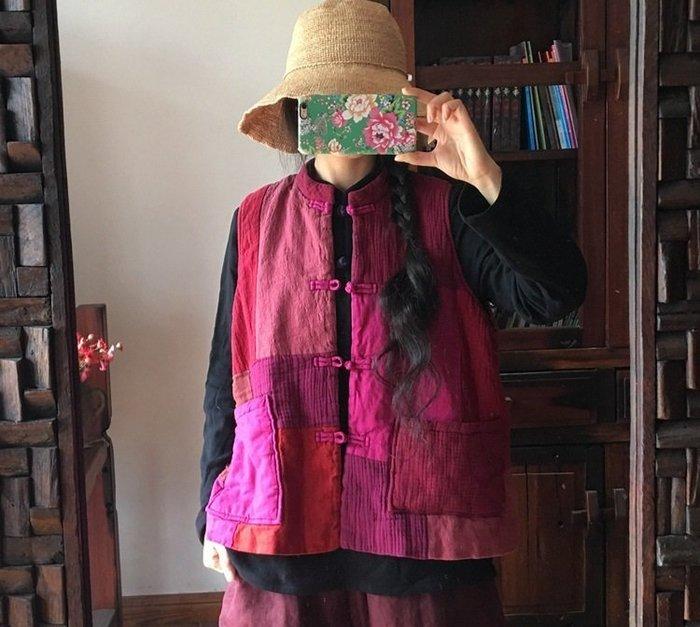 【子芸芳】原創水洗麻料拼布夾棉對襟鋪棉背心 好看