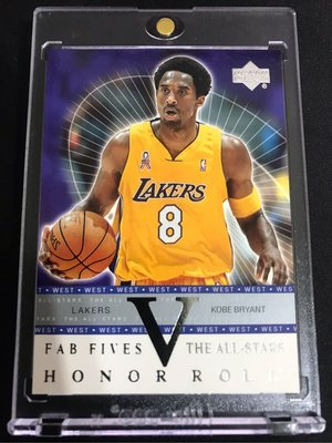 🐍2002-03 Upper Deck Honor Roll Fab Fives The All-Stars #FS-AS4 Kobe Bryant