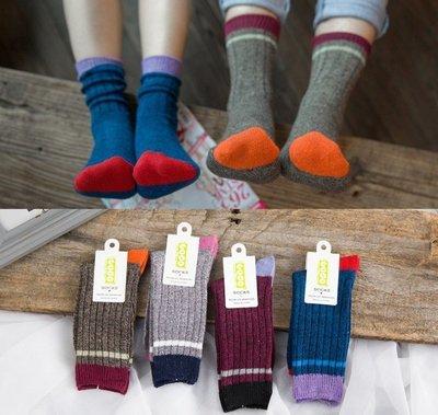 AJKE【G009】韓國品牌粗混線撞色二條堆堆襪  全棉保暖中性情侶堆堆襪   材質舒適短靴襪/粗線中筒男襪女襪