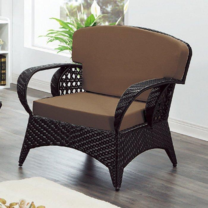 【在地人傢俱】19 樂樂購-咖啡色墊1人/一人/單人籐椅/藤沙發椅 JL96-1