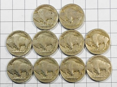RR672 美國1920年代 FIVE CENTS印地安納背野牛5美分硬幣 共10枚壹標