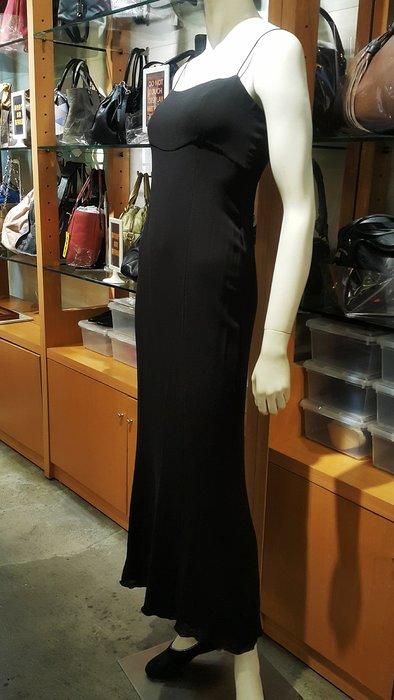 *旺角名店* ㊣ Chanel 黑色絲質細肩帶長洋裝 有內襯