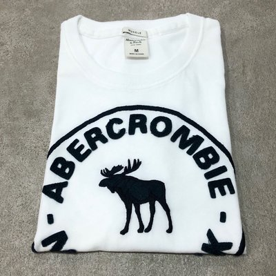 Maple麋鹿小舖 Abercrombie&Fitch* AF 白色貼布字母電繡麋鹿短T * ( 現貨M號 ) 高雄市