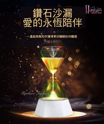 ☆[Hankaro]☆時尚創意沙漏感應USB七彩小夜燈燈飾