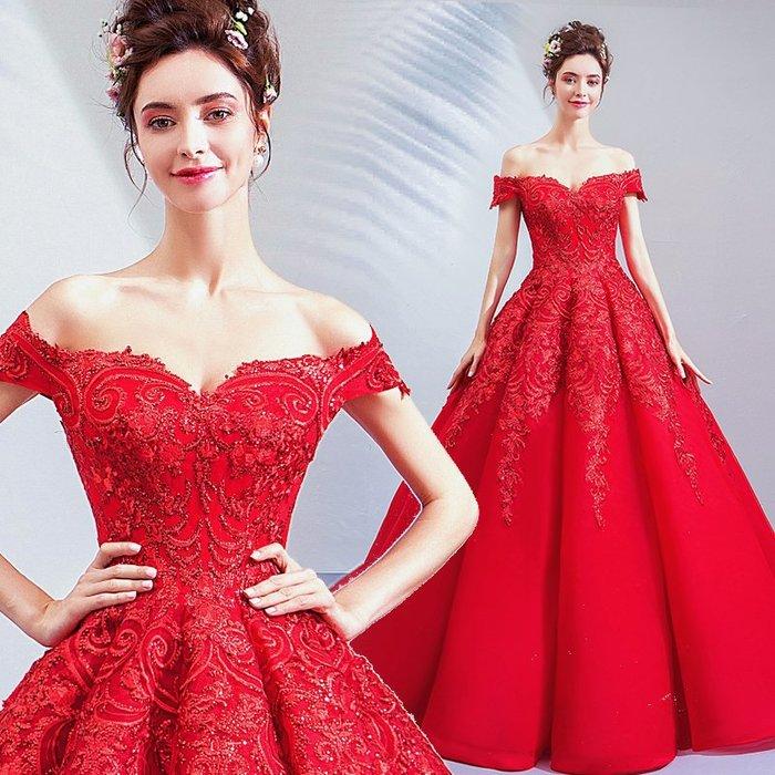 妞妞 婚紗禮服~一字肩女王紅色婚紗新娘敬酒主持人新娘敬酒長禮服~3件免郵