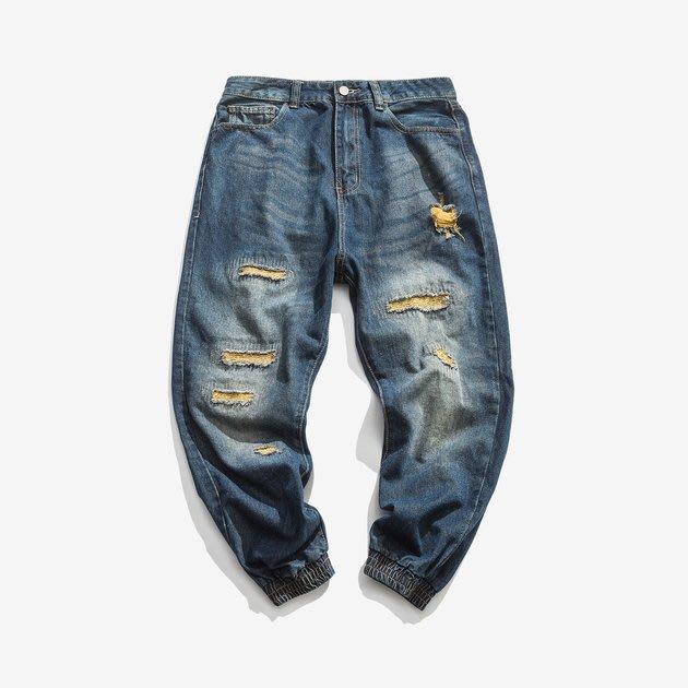 FINDSENSE 2019 秋季上新 牛仔褲 G7 金線破洞牛仔褲 男褲 長褲