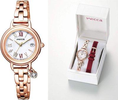 日本正版 CITIZEN 星辰 WICCA KL0-561-15 女錶 手錶 2種錶帶 太陽能充電 日本代購
