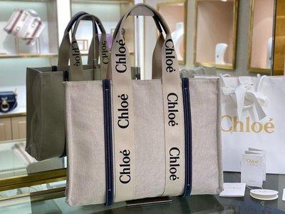 Chloe woody tote bag 大尺寸 45cm托特包 手提包 棕色/ 深藍