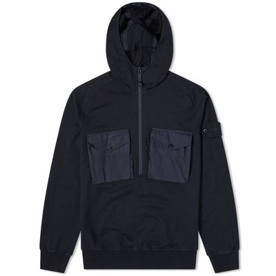 STONE ISLAND GHOST PIECE POPOVER HOODIE NAVY BLUE XL號 正品