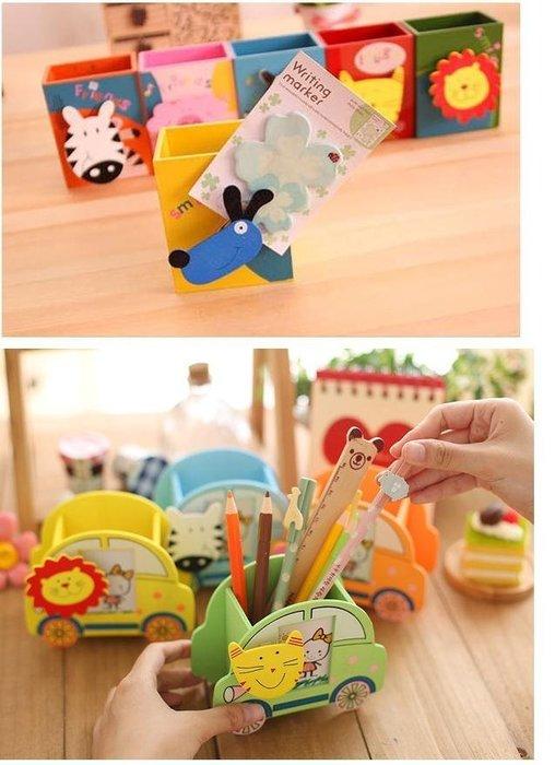 =吉米生活館=彩繪創意卡通動物造型木質筆筒 動物筆筒(附便條紙夾) 文具筆筒 雜物筒 置物筒