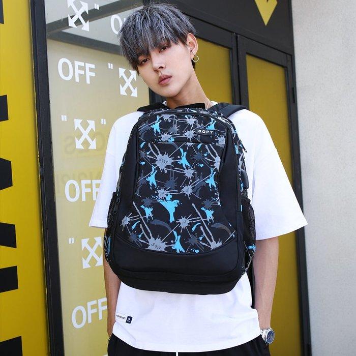SX千貨鋪-書包男時尚潮流大容量雙肩包高中生中學生背包男休閑電腦包#男士背包#書包#單肩包#書包