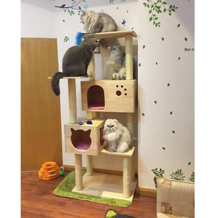 豪華實木貓爬架貓玩具貓爪柱貓樹貓窩實木貓架寵物爬架貓抓板YS