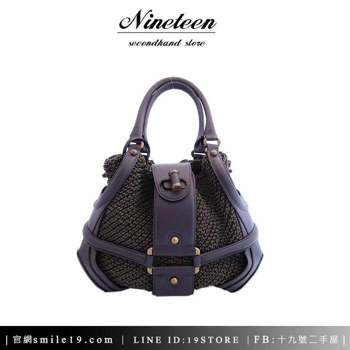 《十九號二手屋》Alexander McQueen-Crochet Novak咖啡色真皮編織內袋手提包