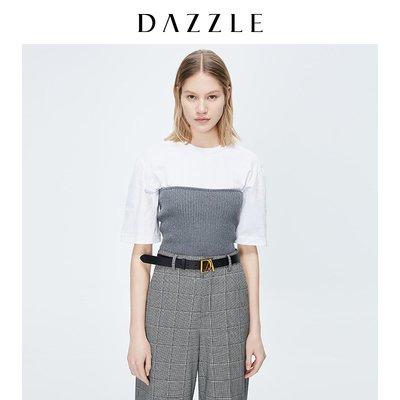 DAZZLE地素 春裝抹胸腰封兩穿短袖T恤兩件套女2C3B3111A星星小店