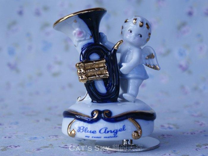 《Cat Sky》日本進口Blue Angel藍天使.小喇叭.陶瓷旋轉音樂鈴