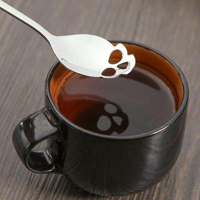 攪拌勺不銹鋼原宿潮流個性鏤空骷髏頭咖啡勺子甜品勺調羹長柄勺子