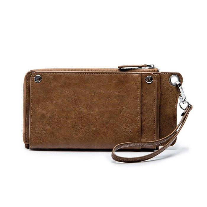 錢包 錢夾 韓版青年軟皮錢夾時尚皮質潮中長款錢包大容量休閑手機包卡包