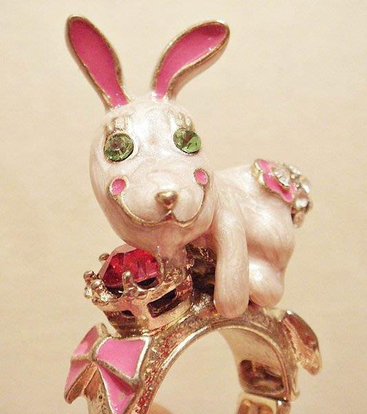 全新 高質感立體可愛兔子造型戒指,低價起標無底價!本商品免運費!