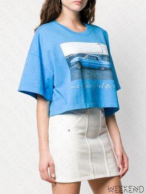 【WEEKEND】 ADAPTATION 印圖 寬鬆 短版 短袖 T恤 藍色