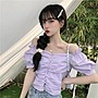 韓版 平口T恤 一字肩 甜美露肩 一字領 修身顯瘦褶皺設計感短袖襯衫上衣女裝
