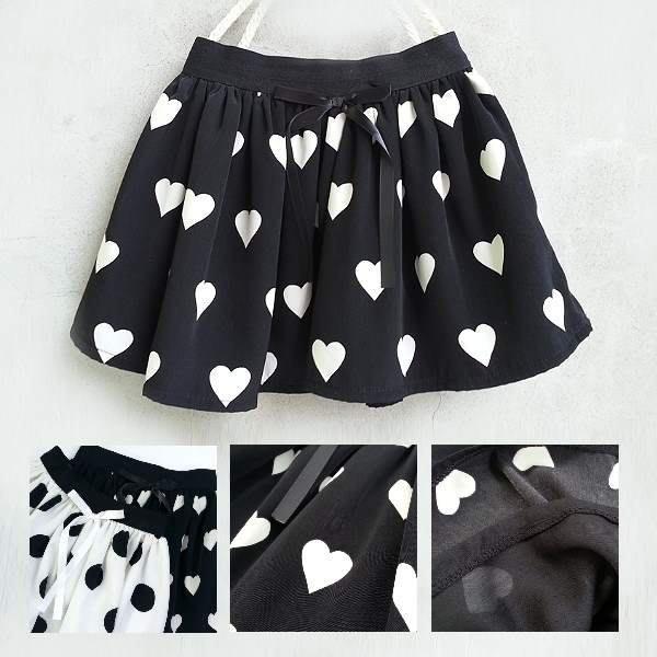 【韓國空運正韓童裝】正韓--撲克撞色愛心短裙--黑色