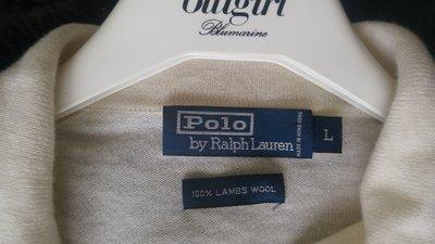 【POLO by Ralph Lauren 】乳白色小羊毛長袖毛衣